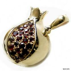 14k Yellow Gold Pomegranate Pendant Red Garnet Seeds Jewish Necklace 21.9 Mm New