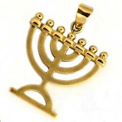 14k Yellow Gold Menorah Jewish Necklace Classic 7 Branched Bead Flames 19.5mm