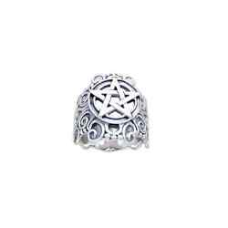 Scrollwork Pentacle Ring Pagan Wicca .925 Sterling Silver By Peter Stone Jewelry