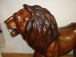 Over Life Size Dressed Genuine Leather Lion. Dark Brown L 90