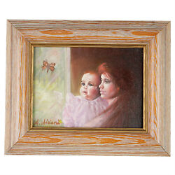 Baby's Awe By Anthony Sidoni 1996 Signed Oil On Canvas 9 1/2x11 1/2