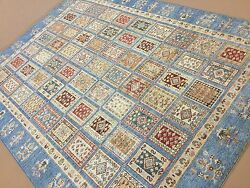 7 X 10 Light Blue Rust Very Fine Oushak Oriental Area Rug Hand Knotted Wool