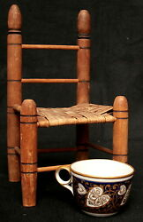Miniature Chair Woven Seat Turned Stiles 19th Century 10t