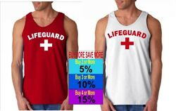 LIFEGUARD Shirt Tank Top Arched Image POOL BEACH on front $11.95