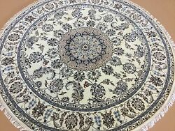 6 X 6 Ivory Nainn Oriental Area Rug Round Hand Knotted Floral Medallion