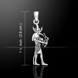 Egyptian God Of Knowledge Thoth .925 Sterling Silver Pendant Fine Jewelry