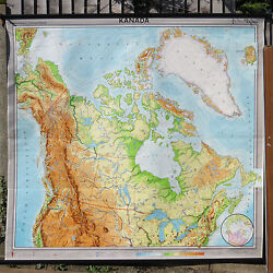 Original Vintage Geographical Pull Down School Wall Map Canada 1967 School Chart