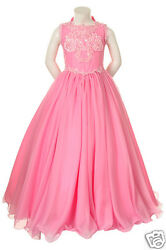 New Girl Pageant Wedding Flower Girl Party Formal Dress Fuchsia Pink 5671214