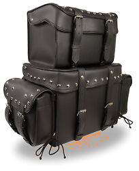 Universal Fit Large 4 Piece Motorcycle Touring Pack w Barrel Bag