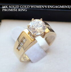14K SOLID YELLOW GOLD WOMEN#x27;S CZ ENGAGEMENT PROMISE RING size 7 $275.49