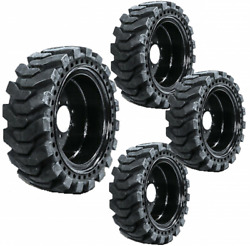 4 Solid Skid Steer Tires 12x16.5 Flat Proof 8 Lug Fits New Holland