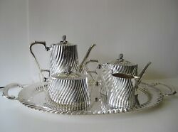 925 STERLING SILVER 5 PIECE HANDCRAFTED RARE FLUTED TEA SET & TRAY 25678 25246