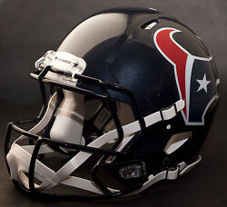 Houston Texans Nfl Authentic Gameday Football Helmet W/ Cu-s2bd-sw Facemask