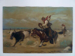 Vintage Painting Artwork Cowboy On Horse Lasso Bull Steer On The Country Plains