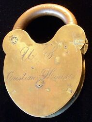 Pre-civil War Portsmouth New Hampshire Us Custom House Padlock By D And M Co.