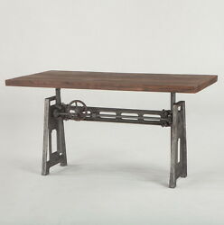 59 L Industrial Office Desk With Weathered Top Hand Crank Adjustable Height.