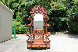 Spectacular Walnut Victorian Rococo Fruit And Nut Pierced Carved Etagere Ca.1860
