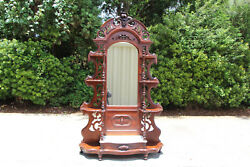 Magnificent Walnut Victorian Fruit And Nut Pierced Carved Marble Top Etagere C1860