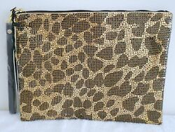 Bronze Brown Mesh Evening Rhinestone Pouch Clutch Bag Purse Handbag NEW 1 Zip