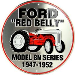 Ford Red Belly Model 8n Tractor 12 Round Metal Sign Garage Embossed Retro Decor