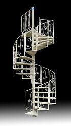 SPIRAL STAIRCASE Mod ASGAARD - GALVANIZED & PAINTED-Wrought Iron Handrails - USA