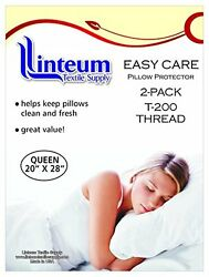 12 PACK QUEEN ZIPPERED PILLOW PROTECTORS PILLOW COVER 20x28 in. COTTON T 200