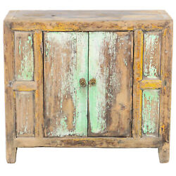 Antique Chinese Asian 37 W 33 T 2 Door Rustic Blue Green Cabinet Chest Vanity