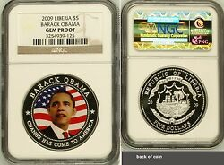 2009 Republic Of Liberia 5 Barack Obama Ngc Pcgs Gem Proof Silver Plated Coin