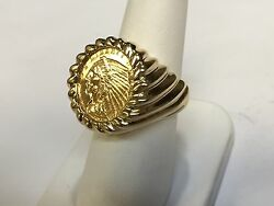 Genuine Indian Head 2 1/2 Dollar Gold Coin Gents Ring Mounting 14k Gr 14
