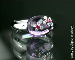 Jelly - Cab Cut Amethyst Ruby And Diamond 18k750 White Gold Design Ring