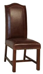 Set Of 4 Dining Chair Bonded Leather W/ Brass Nail Solid Hard Wood Frame