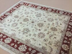 7 X 8 Beige Red Ziegler Oriental Area Rug Hand Knotted Wool Office/study