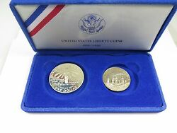 1986 Proof Statue Of Liberty 2 Coin Silver Dollar And Clad Half Coins Us Mint Set