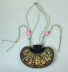 Antique Chinese China Qing Silk Embroidery Gold Silver Pouch Purse Kesi 19th C