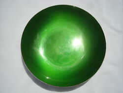Green Enamel Bowl Silver Plated By Reed And Barton