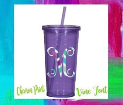 Monogram Vinyl Decal Initial Personalized for Your Cups Tumblers Vine 2quot; sale $1.35