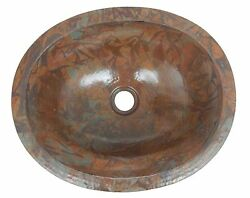 Mexican Copper Bathroom Sink Hand Hammered Oval Drop In 01 Rag Patina