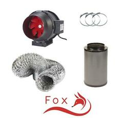Hydroponic Fox Carbon Filter Inline Extractor Fan Kit 100mm 4