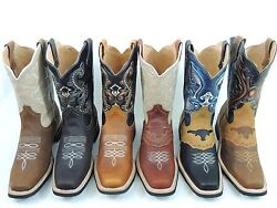 Menand039s Rodeo Cowboy Boots Genuine Leather Western Square Toe Botas Saddle Work