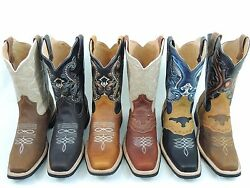 MEN#x27;S RODEO COWBOY BOOTS GENUINE LEATHER WESTERN SQUARE TOE BOTAS SADDLE WORK