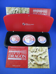 2012 Year Of The Dragon Silver Proof Set 2 Oz 1 0z 1/2 Oz. Nice