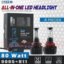 4x 9005+H11 High Power 8000LM 80W CREE LED White Headlights High