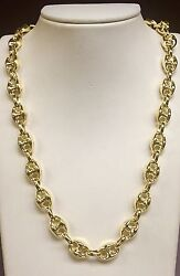 14k Yellow Gold Menand039s Puffed Anchor Mariner 18 Chain/necklace 11 Mm 22 Grams