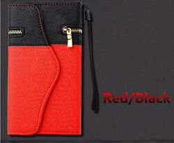 RedBlack Wristlet Clutch Case Wallet with Zipper For iPhone 66s