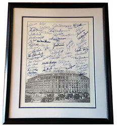 Yankees legends signed litho 60+ auto Mickey Mantle Joe DiMaggio Murcer CBM COA