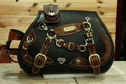 100% handmade custom design solo leather Saddle side Bag black brown saddlebag $950.00