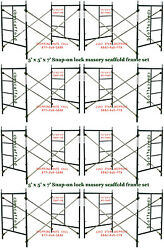 Eight Set Of New 5and039 X 5and039 X 7and039 Masonry Scaffolding Frame Set Cbm Scaffold