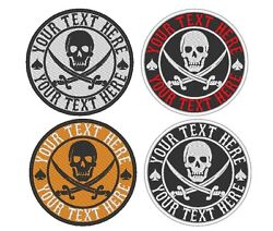 Custom Embroidered PIRATE Skull SKELETON Sew on Round Patch Patches $34.50