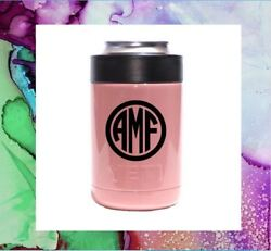 Monogram Vinyl Decal Personalized for Your Cup Tumbler 3 Initials Circle Font 2quot; $1.89