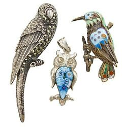 Vintage Sterling Silver, Glass And Enamel 3 Bird Brooches - Parrot, Owl, Bird,
